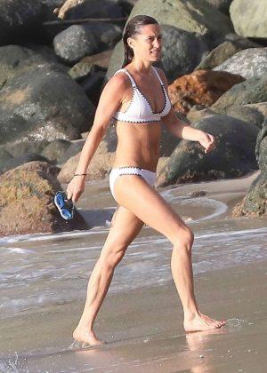 Pippa Middleton in White Bikini on the beach in St. Barts