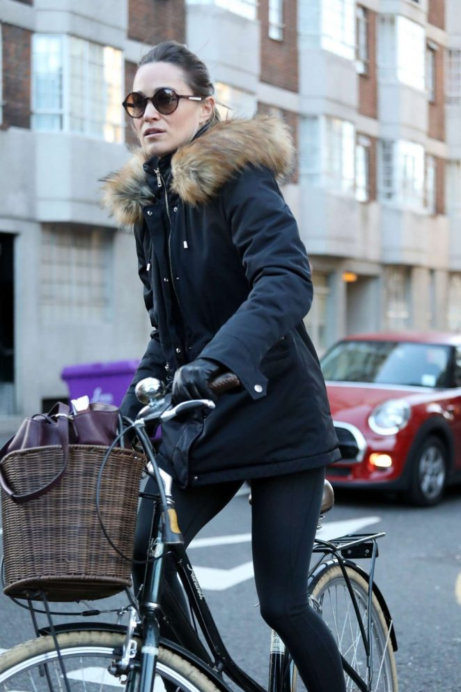 Pippa Middleton - Riding a bike in West London