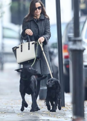 Pippa Middleton with her dogs out in London