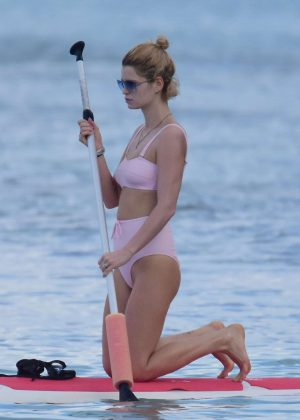 Pixie Geldof in Bikini - Paddleboarding at the beach in Barbados
