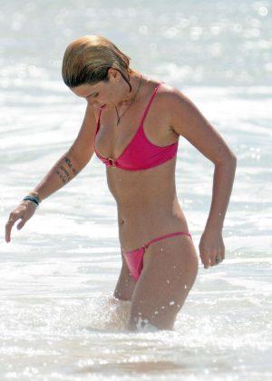 Pixie Geldof in Pink Bikini on the beach in Barbados