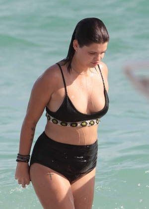 Pixie Geldof - Wearing black bikini at a beach in Miami