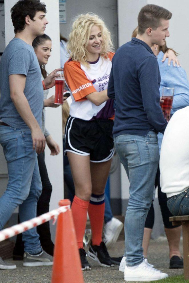 Pixie Lott at a charity football match in Bexleyheath