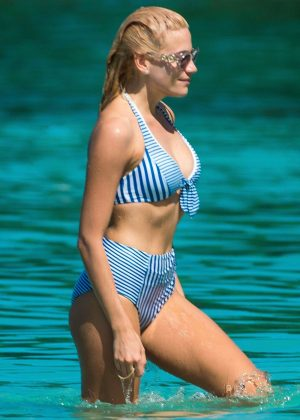 Pixie Lott in Bikini on a beach in Barbados adds
