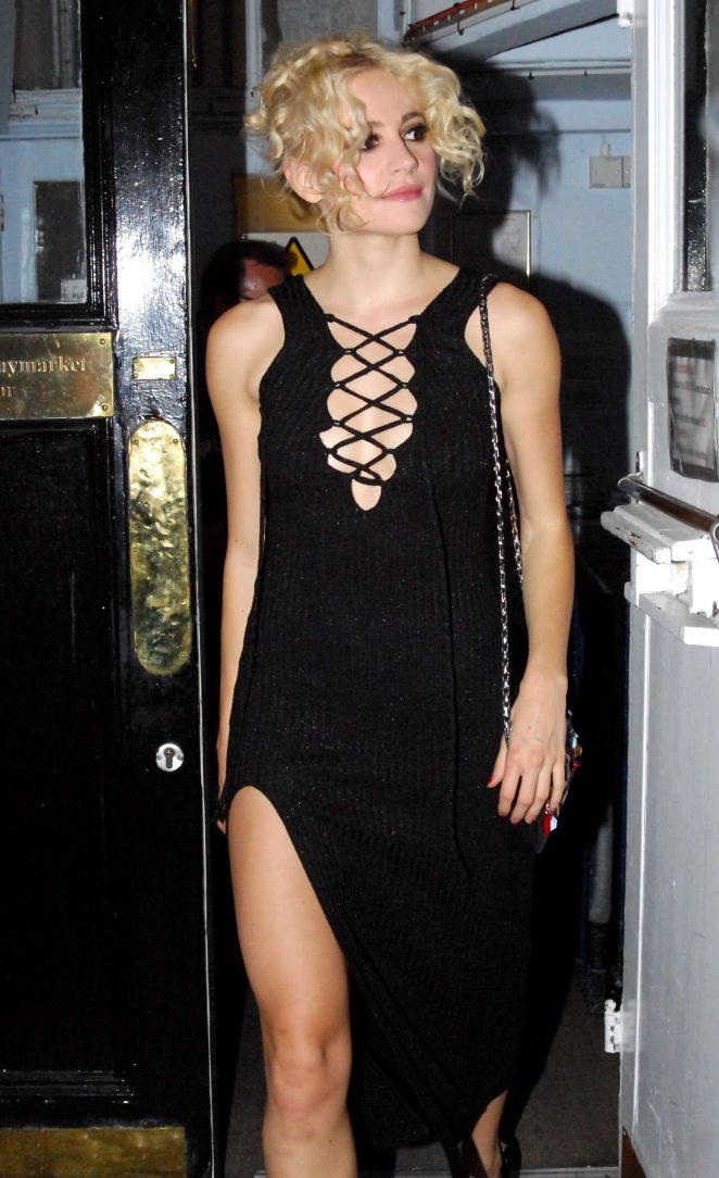 Pixie Lott in Black Dress Leaving The Haymarket Theatre in London