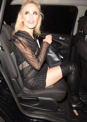 Pixie Lott in Black Mini Dress Leaving The Haymarket Theatre in London