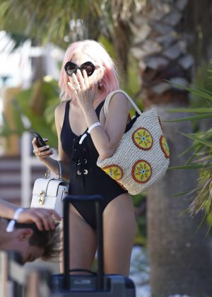 Pixie Lott in Black Swimsuit in Ibiza