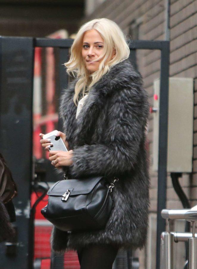 Pixie Lott in Fur Coat at ITV Studios in London