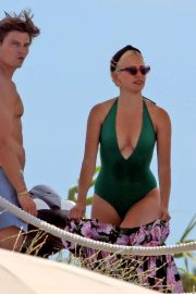 Pixie Lott in Green Swimsuit on a holiday in Formentera