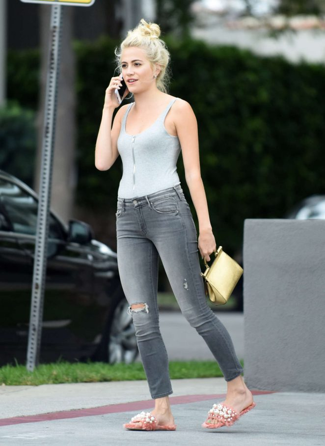 Pixie Lott in Jeans Leaves her hotel in Los Angeles