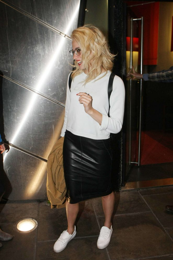 Pixie Lott in Leather Skirt out in Dublin