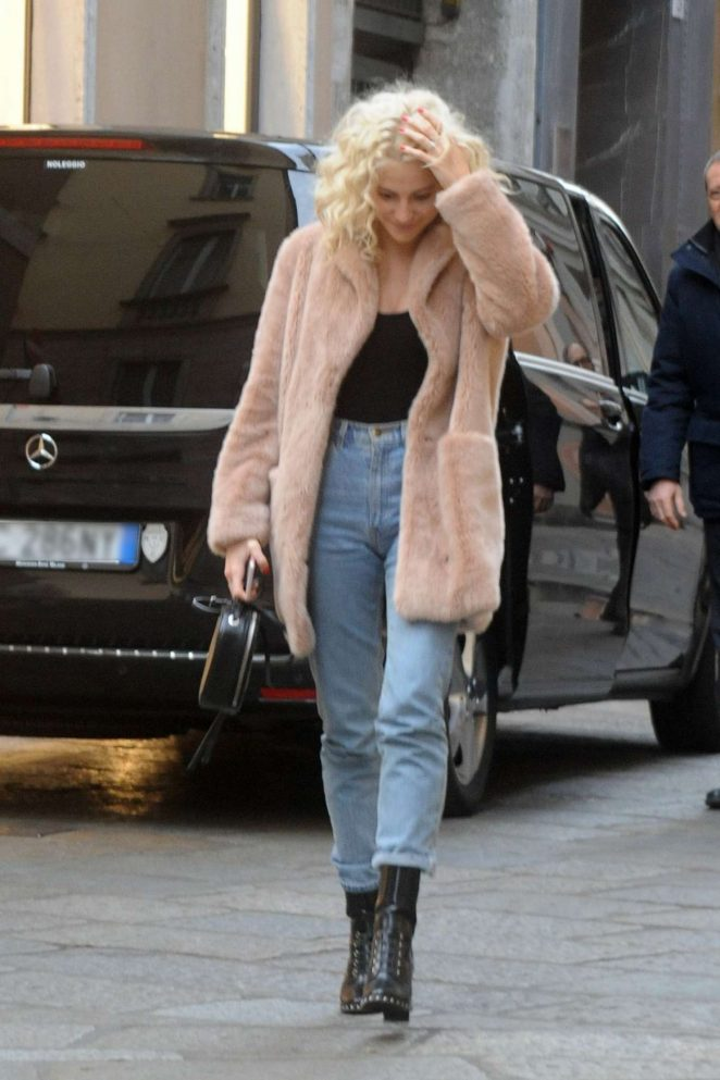 Pixie Lott in Short Coat Out Shopping in Milan