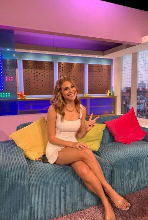 Pixie Lott - In short white dress appearing on Sunday Brunch