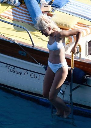 Pixie Lott in White Bikini on a yacht in Capri