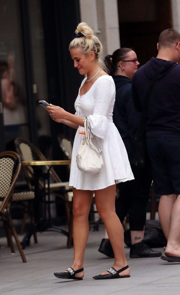 Pixie Lott - In white dress out in London