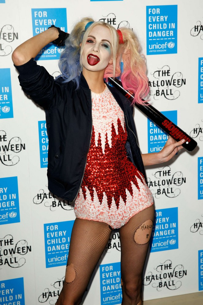 Poppy Delevingne as Harley Quinn at UNICEF Halloween Ball in London