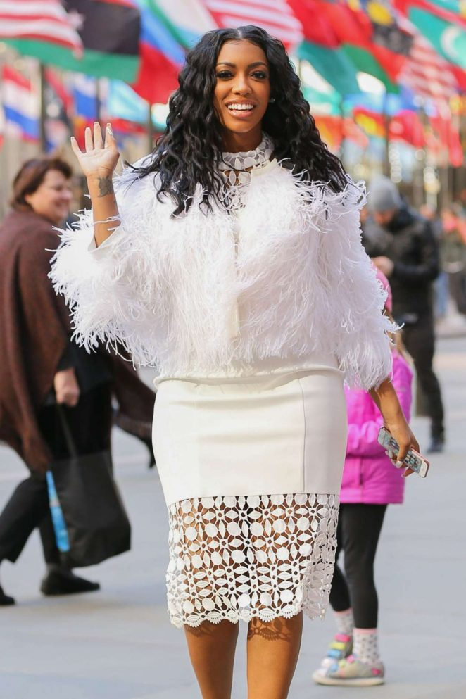 Porsha Williams in White Dress Out in New York