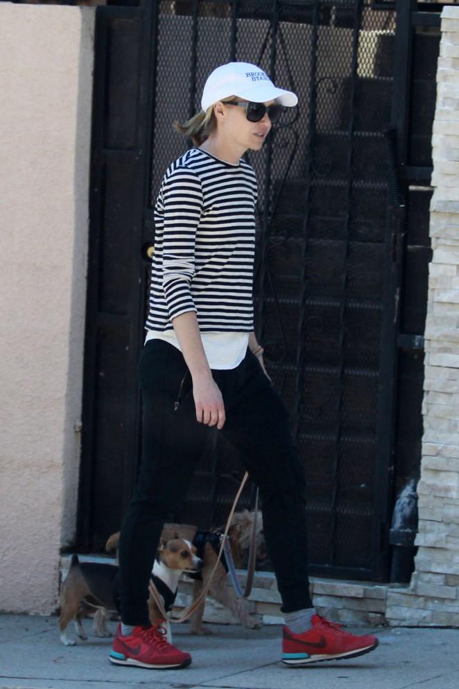 Portia De Rossi - Walking her dogs in Los Angeles