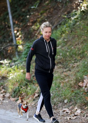 Portia de Rossi in Tights Walks Her Dog in West Hollywood