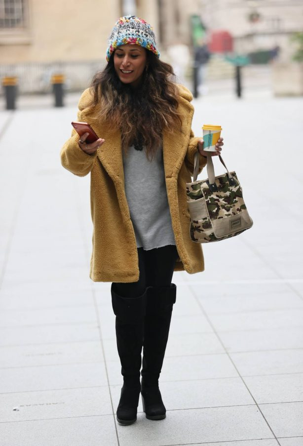Preeya Kalidas - in knee high boots and beenie hat at BBC Broadcasting Hous