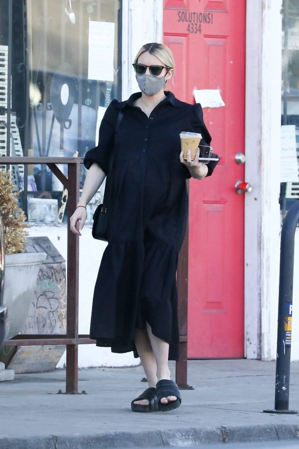 Pregnant Emma Roberts - picks up some coffee in Los Angeles