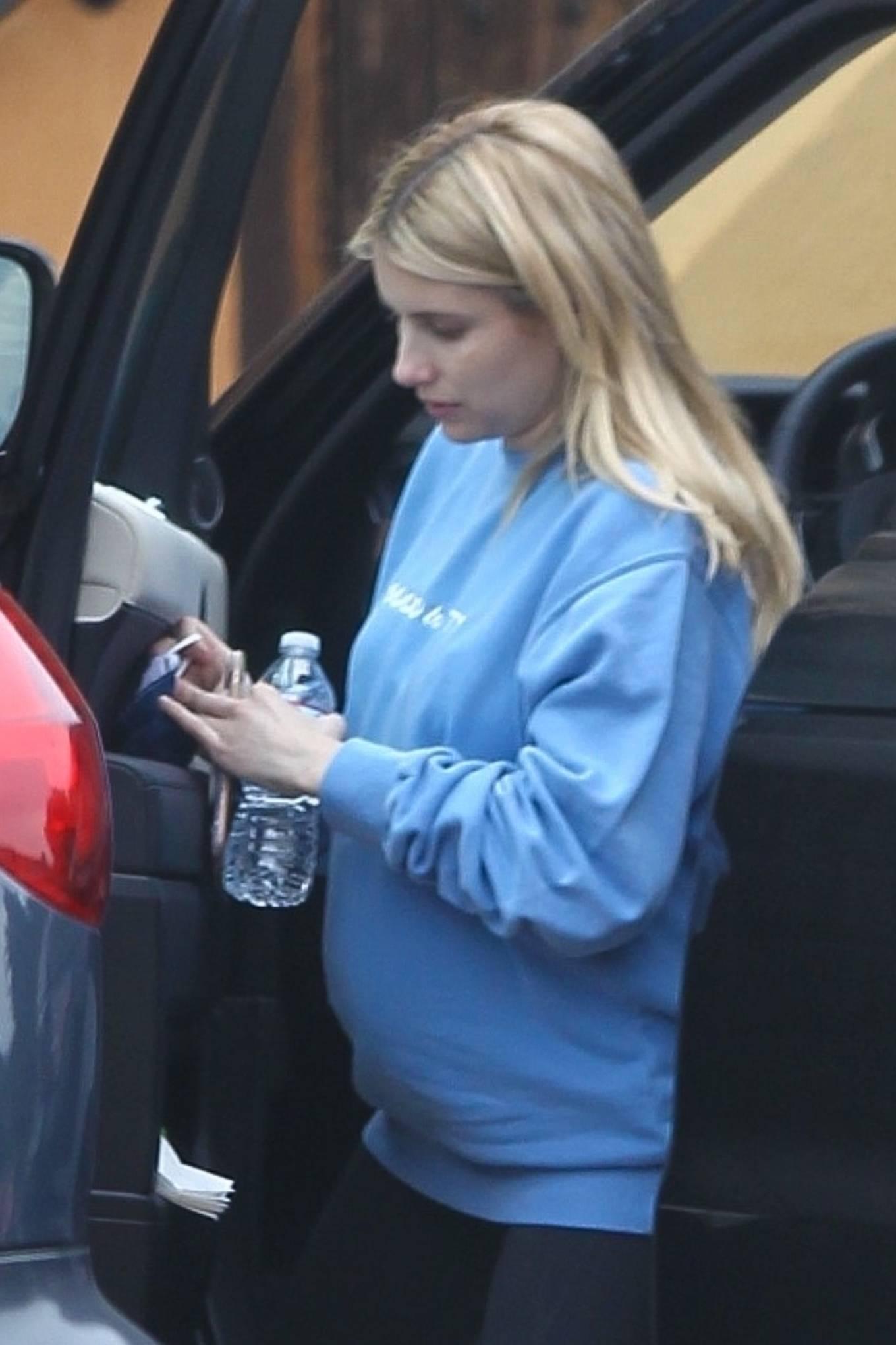 Emma Roberts 2020 : Pregnant Emma Roberts – Seen arriving home in Los Feliz-12