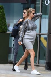 Pregnant Rachel Riley seen at MediaCityUK in Salford