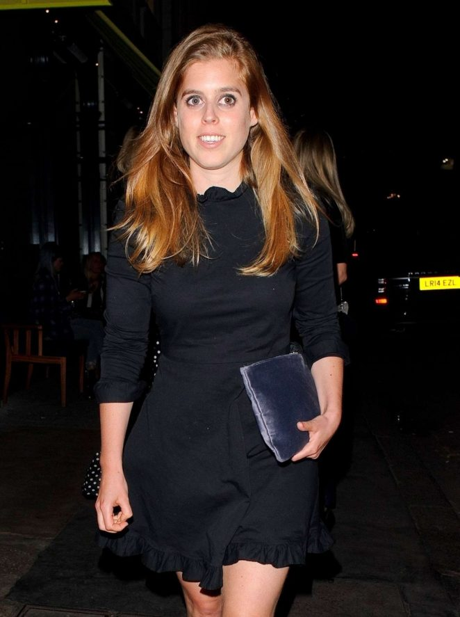 Princess Beatrice of York Leaving a restaurant in Mayfair