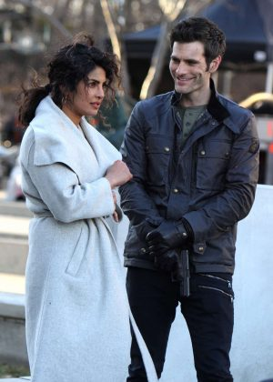 Priyanka Chopra and Alan Powell - On set filming 'Quantico' in NYC