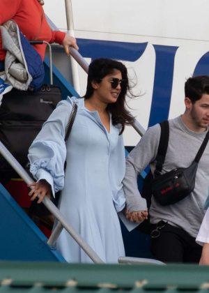Priyanka Chopra and Nick Jonas - Arriving in the Caribbean