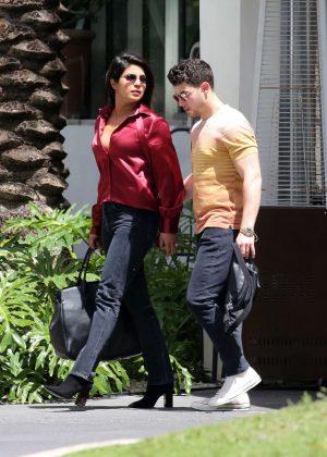 Priyanka Chopra and Nick Jonas - Leaving her hotel in Miami