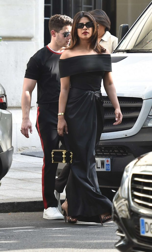 Priyanka Chopra and Nick Jonas - Out to dinner at Hotel Costes in Paris