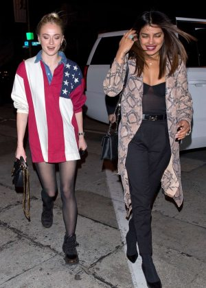 Priyanka Chopra and Sophie Turner at Craig's restaurant in West Hollywood
