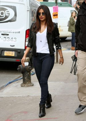 Priyanka Chopra - Arrives to the Set of 'Quantico' in New York