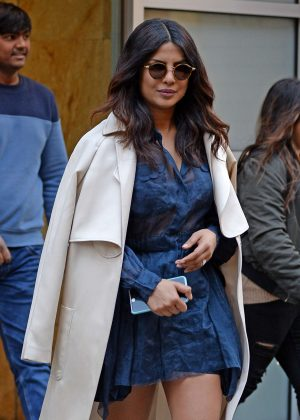Priyanka Chopra in a little blue lace dress out in New York City