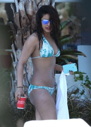 Priyanka Chopra in Bikini at a pool in Miami