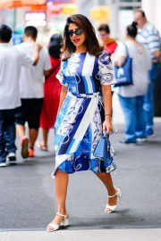 Priyanka Chopra in Blue and White Dress - Out in New York City