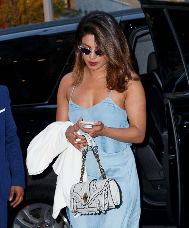 Priyanka Chopra in Blue Dress out in New York City