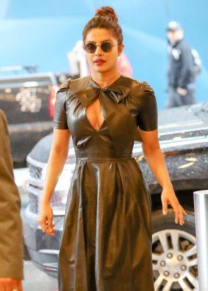 Priyanka Chopra in Leather Dress out in New York City