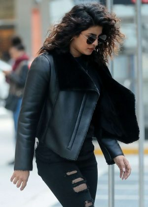 Priyanka Chopra in leather jacket and ripped jeans out in NYC
