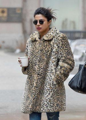 Priyanka Chopra in Leopard Print Coat in New York City