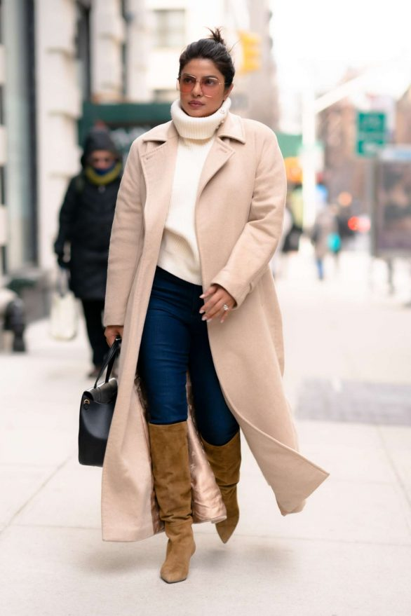 Priyanka Chopra in Long Coat - Out for lunch at the Well in New York