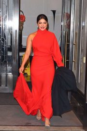 Priyanka Chopra in Red Dress - Heads to the Unicef Snowflake Ball in NYC