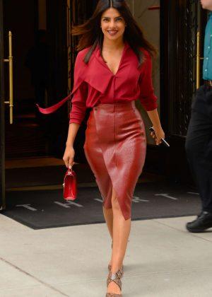 Priyanka Chopra in Red - Leaving her apartment in New York
