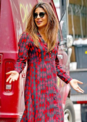 Priyanka Chopra in red printed shirt dress out in New York City
