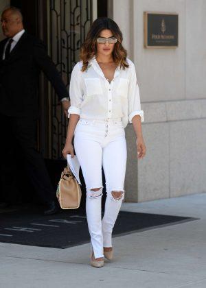 Priyanka Chopra in Ripped White Jeans in New York City