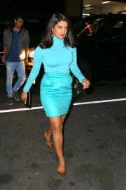 Priyanka Chopra in Tiffany Blue Skirt and Top - Leaving 'Jimmy Fallon Show' in NY
