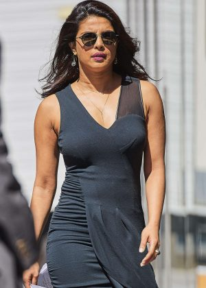 Priyanka Chopra in Tights Dress on The Set of 'Quantico' in NYC