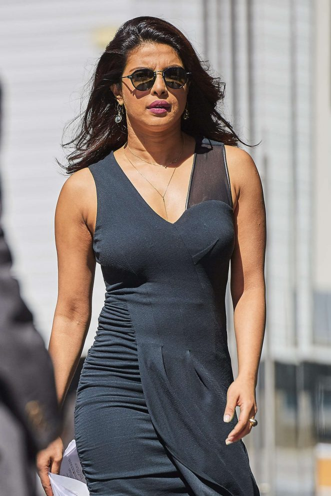 Priyanka Chopra in Tights Dress on The Set of 'Quantico' in NYC