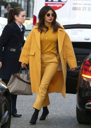 Priyanka Chopra in Yellow Outfit - Out in London